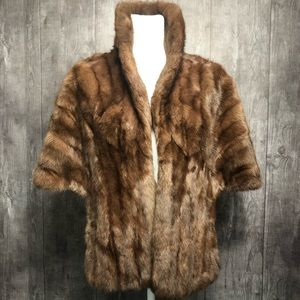 Vintage Soft Fur Stole Wrap Pockets